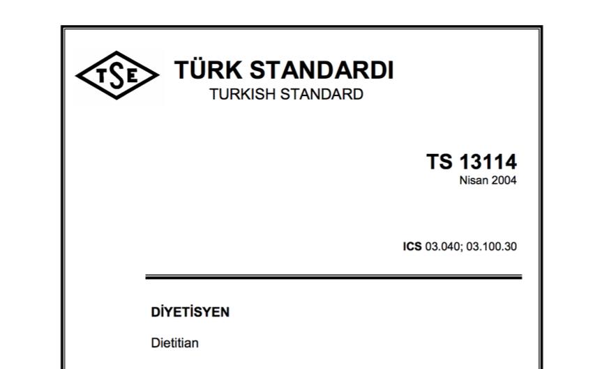 Türk Standardları Enstitüsü TSE Diyetisyen Tanımı
